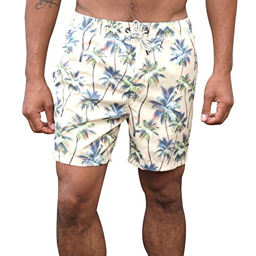 MaaMgic Mens Swim Trunks Stretch Short Teen Cotton Swimming Shorts Printed Quick Dry Bathing Suits Beige