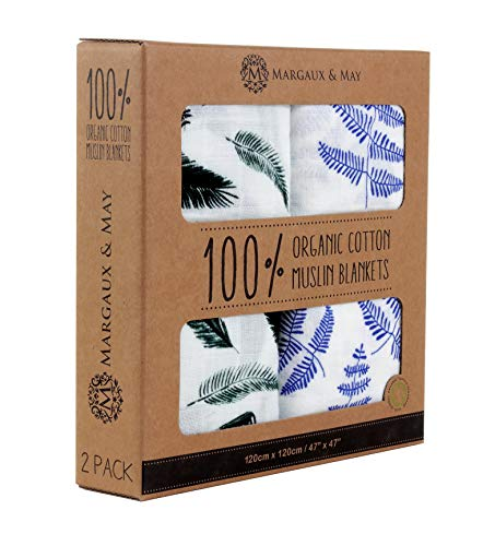 Margaux & May Organic Muslin Swaddle Blankets Blue Fern & Green Feather – 47 x 47 inch Ultra Soft Muslin Swaddle Blankets – Perfect