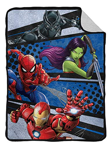 Marvel Avengers Fight Club Flannel Sherpa Blanket – Measures 60 x 80 inches, Kids Bedding Featuring Black Panther, Spiderman, & Iron Man – Fade Resistant Super Soft – (Official Marvel Product)