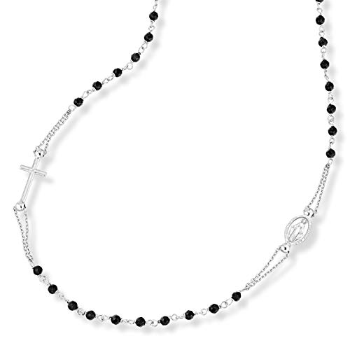 Miabella 925 Sterling Silver Italian Handmade Natural Black Spinel Rosary Beaded Sideways Cross Necklace for Women Teen Girls 18, 20 Inch Chain Made in Italy (20 Inches)