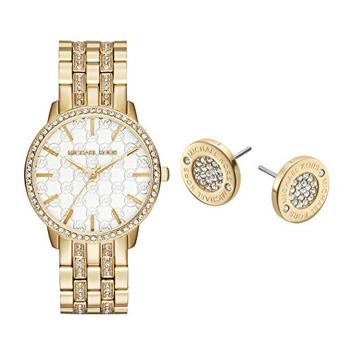 Michael Kors Women's Lady Nini Quartz Watch with Stainless-Steel-Plated Strap, Gold, 18 (Model: MK3214) with Michael Kors Gold Tone Logo Pave Stud Earrings