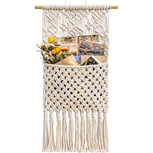 Mkono Macrame Wall Holder Magazine Storage Organizer Mail Holder Wall Mount Cotton Wovening Hanging Pocket Boho Home Decor Ivory, 13″ W × 29″ L