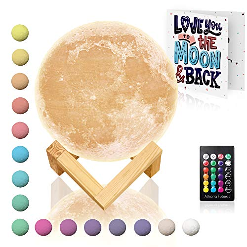 Moon Lamp with Timer 16 Colors – Moon Light 3D Moon Lamp – Seamless – Moon Night Light with Stand – Mood, Globe, Cool Lamp, Gift, with Wooden Stand, Gift Box, Moonlight LED