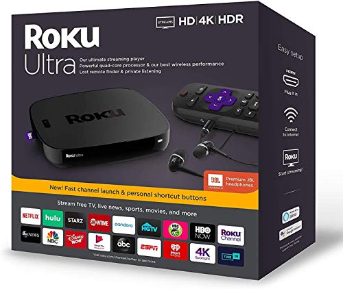 Newest Roku Ultra Streaming Media Player 4K/HD/HDR Bundle – Enhanced Voice Remote W/TV Controls and Shortcuts – Premium JBL Headphones – HDMI, Ethernet, and Micro SD Ports – iPuzzle HDMI Cable 3ft