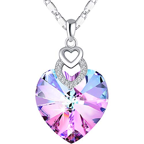 PLATO H Girls Heart Necklace Pink Crystal from Swarovski for Women Mothers day gifts for Mom Girls Pendant Jewelry Fashion Large Heart Mother's Day