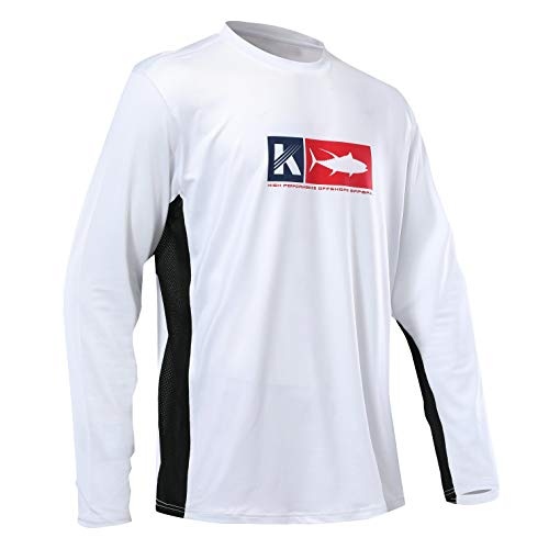 Performance Long Sleeve Shirt UPF 50 Mesh Quick Dry Fit Cooling Running Fishing Hiking UV Sun Protection Loose Fit,White,Large