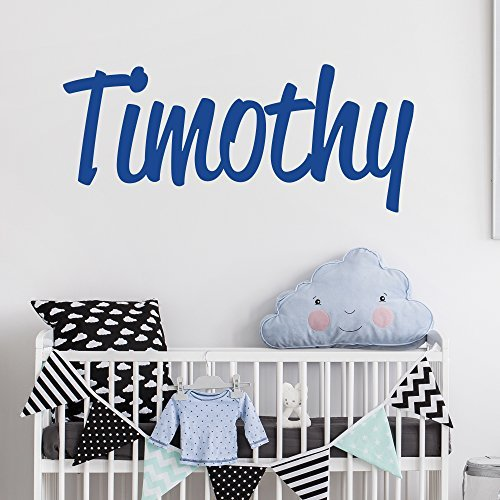Personalized Custom Name Wall Decal for Baby Boy Nursery Room – Anti-Glare Large Matte Vinyl Monogram Lettering – Safe on Walls & Paint – Made in USA – Handmade to Order