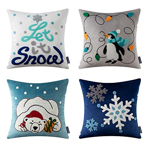 Phantoscope Set of 4 Merry Christmas Decorative Velvet Throw Pillow Covers Xmas Cushion Cover with Embroidered Lantern, Penguin, Bear, Snowflake for Couch Sofa Bed, Blue, 18 x 18 inches