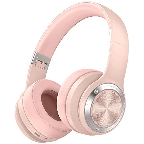 Picun B21 Wireless Headphones Over Ear, 110H Playtime Touch Control Bluetooth Headphones with Mic USB-C Charging Foldable Stereo Bluetooth 5.0 Headset for Phone Support Wired/Wireless/TF (Rose Pink)
