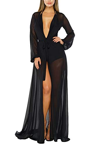 Pink Queen Women's Long Sleeve Flowy Maxi Bathing Suit Swimsuit Tie Front Robe Cover Up Black M