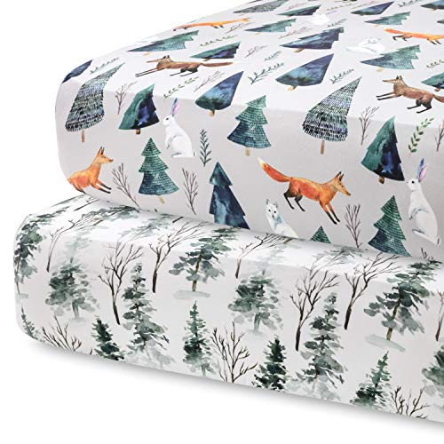 Pobi Baby – 2 Pack Premium Fitted Crib Sheets for Standard Crib Mattress – Ultra-Soft Cotton Blend, Stylish Animal Woodland Pattern, Safe and Snug for Baby (Magical)
