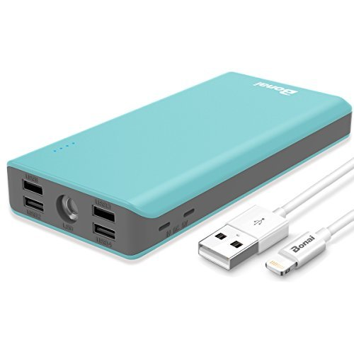 Portable Charger 30000mAh, (Ultra High Capacity)(Flashlight)(Outdoor) BONAI 5.6A 4-Port Output External Battery Pack, Polymer Fast 4A Input Power Bank for iPhone iPad Samsung Galaxy and More – Mint