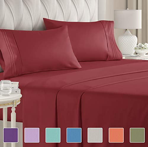 Queen Size Sheet Set – 4 Piece Set – Hotel Luxury Bed Sheets – Extra Soft – Deep Pockets – Easy Fit – Breathable & Cooling – Wrinkle Free – Comfy – Burgundy Bed Sheets – Queens Sheets – 4 PC