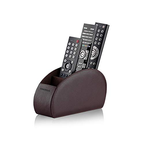 Remote Control Holder with 5 Compartments (Brown) – PU Leather TV Remote Organizer – Remote Caddy Desktop Organizer for TV Remote, DVD, Controllers – Media Accessory Storage & Organizer by SONOROUS