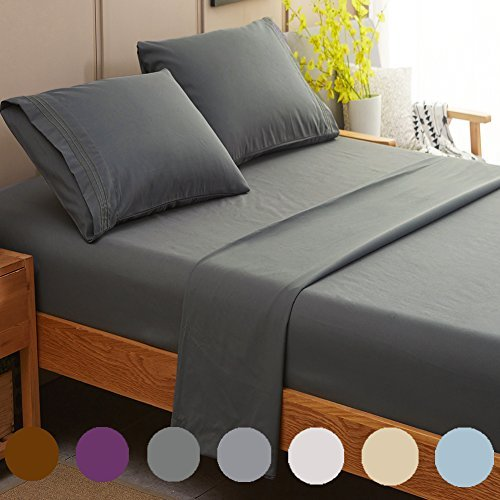 SONORO KATE Bed Sheet Set Super Soft Microfiber 1800 Thread Count Luxury Egyptian Sheets Fit 18-24 Inch Deep Pocket Mattress Wrinkle and Hypoallergenic-4 Piece (Dark Grey, Queen)