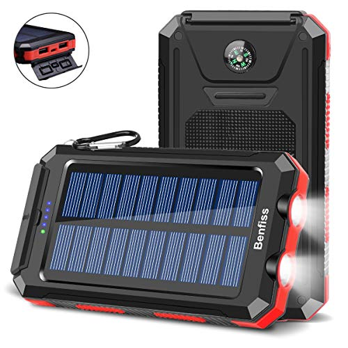 Solar Charger 20000mAh, BENFISS Ultra-Portable Durable Solar Power Bank with 2 USB Output 2 LED Flashlight and Compass, Waterproof Solar Battery Pack for Outdoor Activities/Emergency (Red)