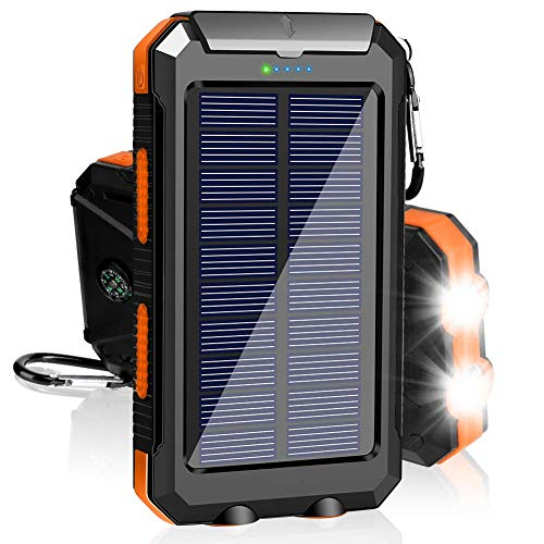 Solar Charger 20000mAh Portable Outdoor Waterproof Solar Power Bank, Camping External Backup Battery Pack Dual 5V USB Ports Output, 2 Led Light Flashlight with Compass (Orange)
