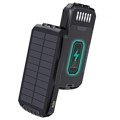 Solar Charger 25000mAh, Solar Power Bank with Qi Wireless Charger and 2-USB Outputs & 2 Inputs, Portable External Battery Pack with Flashlight for Camping Outdoor
