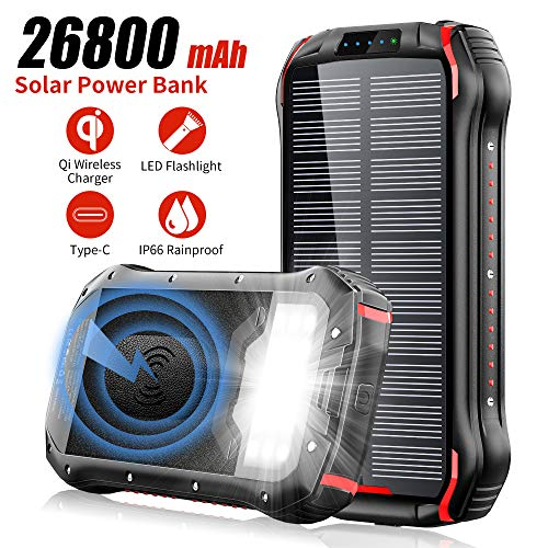 Solar Charger, 26800mAh Battery Solar Power Bank Wireless Portable Panel Charger with 4 Outputs & Dual Inputs Type-C, Waterproof External Backup Battery Pack with 18 LEDs Flashlight for Smartphones