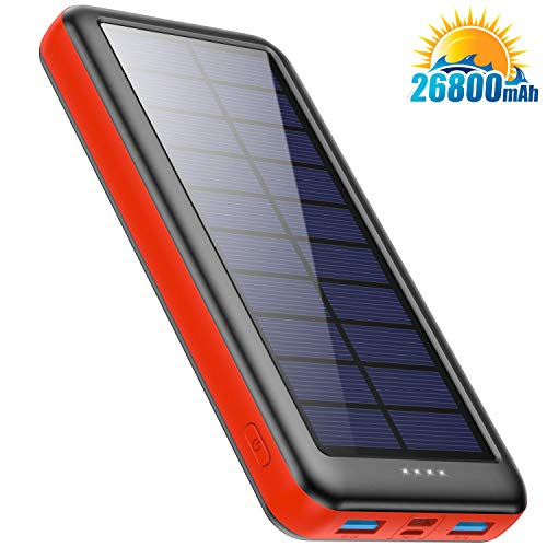 Solar Charger Power Bank 26800mAh, BOMT【Type C & Micro USB Input】 Portable Charger Fast Charge External Backup Battery Pack with 3 Inputs & 2 Outputs for Smartphone, Android, Tablet, Outdoor Camping