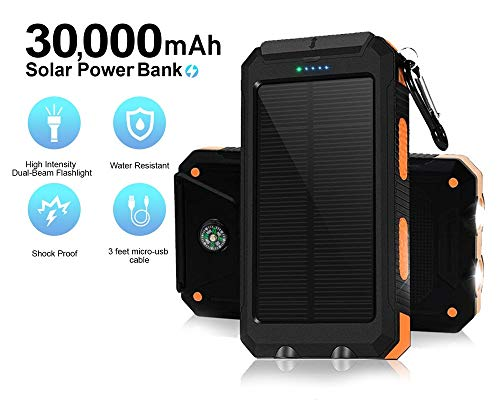 Solar Chargers 30,000mAh, Dualpow Portable Dual USB Solar Battery Charger External Battery Pack Phone Charger Power Bank with Flashlight for Smartphones Tablet Camera (Orange/Black B) (Orange/Black B)