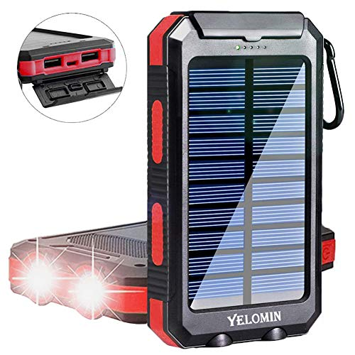 Solar Phone Charger 20000mAh,YELOMIN Mobile Power Bank Portable Outdoor Camping Travel External Backup Battery Pack, Panel Charger Dual USB 5V Outputs 2 LED Light Flashlight with Compass