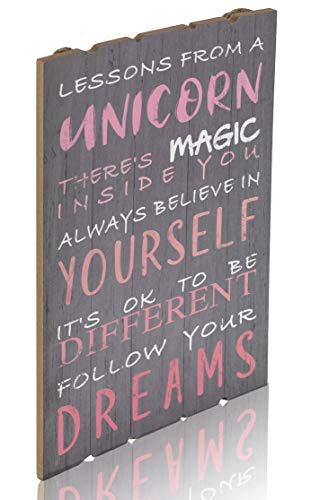Something Unicorn – Rustic Wall Hanging Sign for Teen Girls, Girl's Bedroom, Nursery Room, College Dorm and Unicorn Room Decoration. Essential Item for Unicorn Wall Decor, 12×17 in, Unicorn