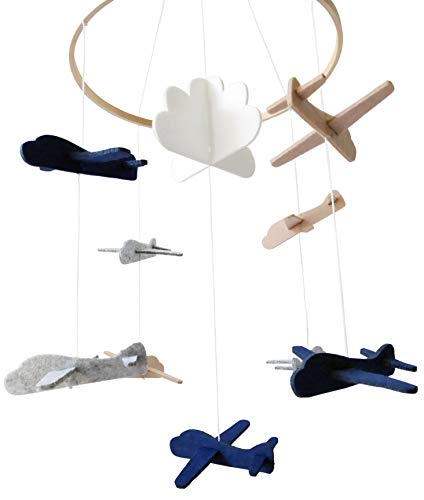 Sorrel and Fern Baby Crib Mobile Airplanes and Cloud Nursery Grey and White Decoration for Boys (Ceiling Mobile))