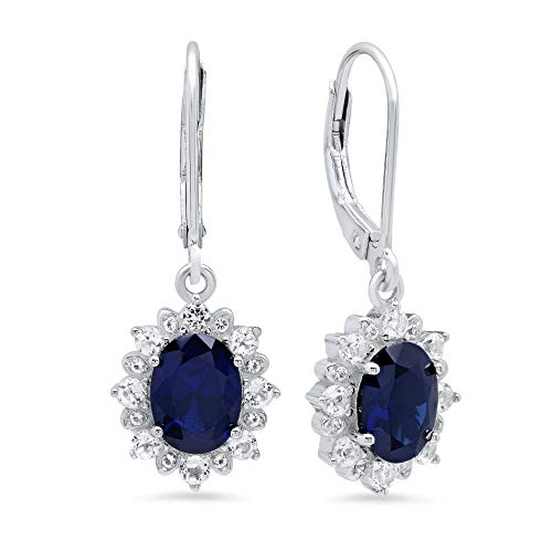 Sterling Silver Halo Sunburst Oval Created Blue Sapphire Leverback Earrings (8x6mm)