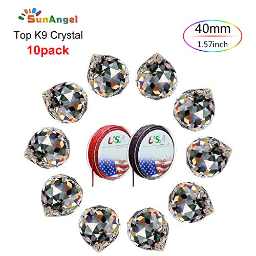 SunAngel Top k9 Faceted Prism Crystal Ball Sun Catcher Rainbow Pendants Maker,Chandelier Drops Crystal,Prism Windows,Decor Crystal Pendant, Hanging Crystals Prisms (40MM Clear Prism Balls-10Pack)