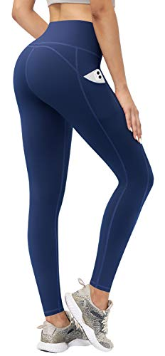 TQD High Waisted Yoga Pants, Workout Leggings with Pockets Tummy Control 4 Ways Stretch Yoga Pants for Women RoyalBlue