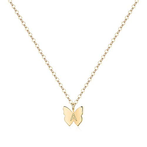 Turandoss Initial Butterfly Necklaces for Women Girls – 14K Gold Filled Initial Letter A Butterfly Necklace Tiny Initial Name Letter Butterfly Choker Necklaces for Wowen Girls Gifts(A)