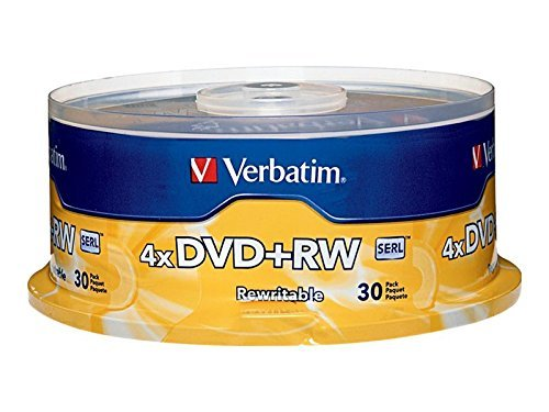 Verbatim DVD+RW 4.7GB 4X with Branded Surface – 30pk Spindle