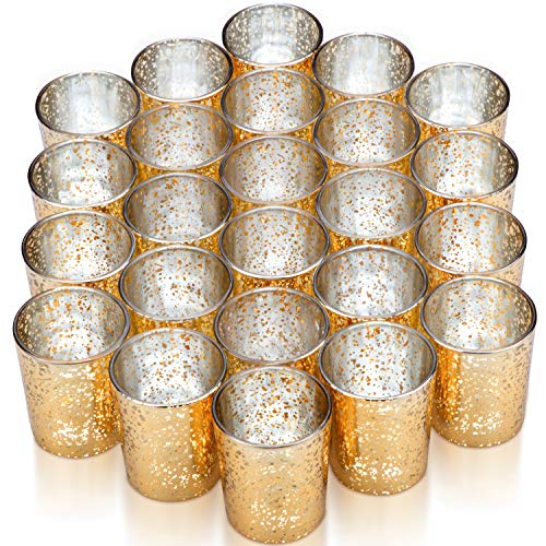 Vizayo Gold Votive Candle Holders – Set of 24 Mercury Glass Votives and Tealight Candle Holder – Gold Wedding Decorations