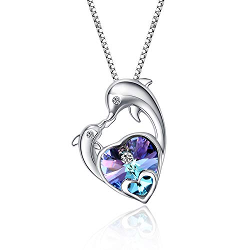 WINNICACA Dolphin Gifts Graduation Gifts Sterling Silver Dolphin Necklace Purple Crystal Heart of Ocean Necklace for Women Lover