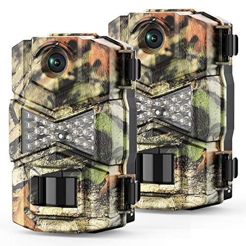 WOSODA Trail Game Camera, 16MP 1080P Waterproof Hunting Scouting Cam for Wildlife Monitoring with Night Vision LY123 (2 Pack)
