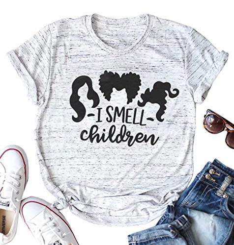 Women I Smell Children T Shirt Sanderson Sisters Halloween Graphic Print Tee Top Gray