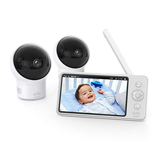 eufy Security, Video Baby Monitor with Camera and Audio, 2-Cam Kit, 720p HD, Ideal for New Moms, 5″ Display, 110° Wide-Angle Lens, Night Vision