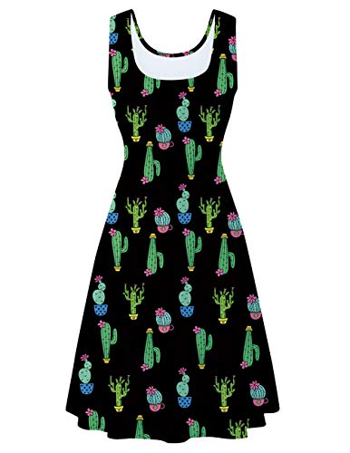 uideazone Women's Scoop Neck Black Cactus Printed Dress Sleeveless Vintage Party Tank Dress